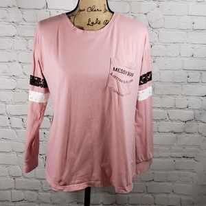 Almost Famous pink long sleeve distressed tshirt